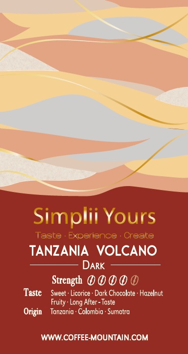 coffee bean - Tanzania Volcano label