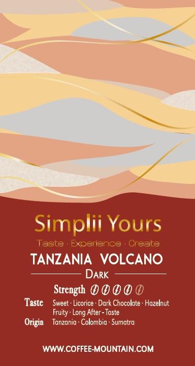 coffee bean - Tanzania Volcano label