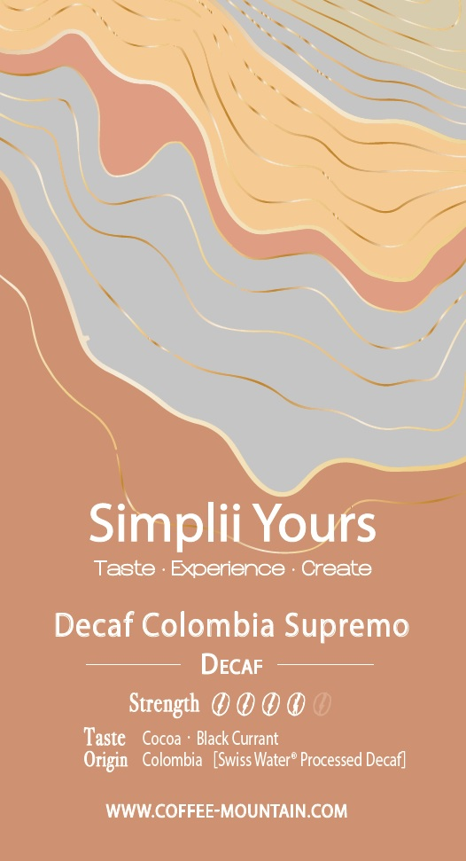 coffee bean - DECAF - Decaf Colombia Supremo label