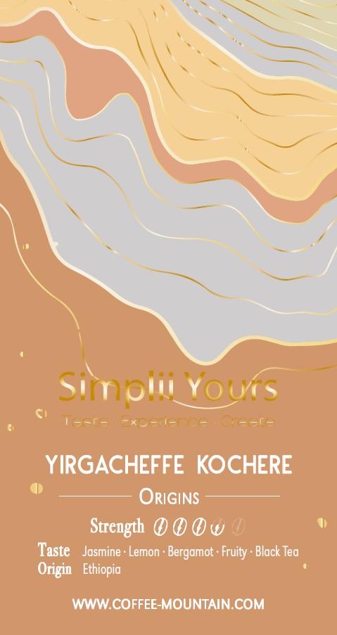 coffee bean - Yirgacheffe Kochere label